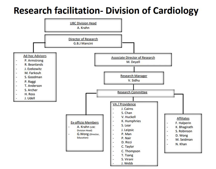 cardiology research organization chart